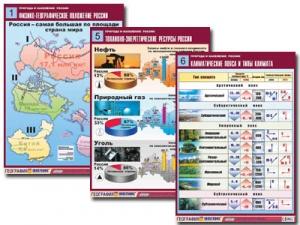 """Комплект таблиц по географии """"Природа и население России"""" (10 табл., формат А1, лам.)"""